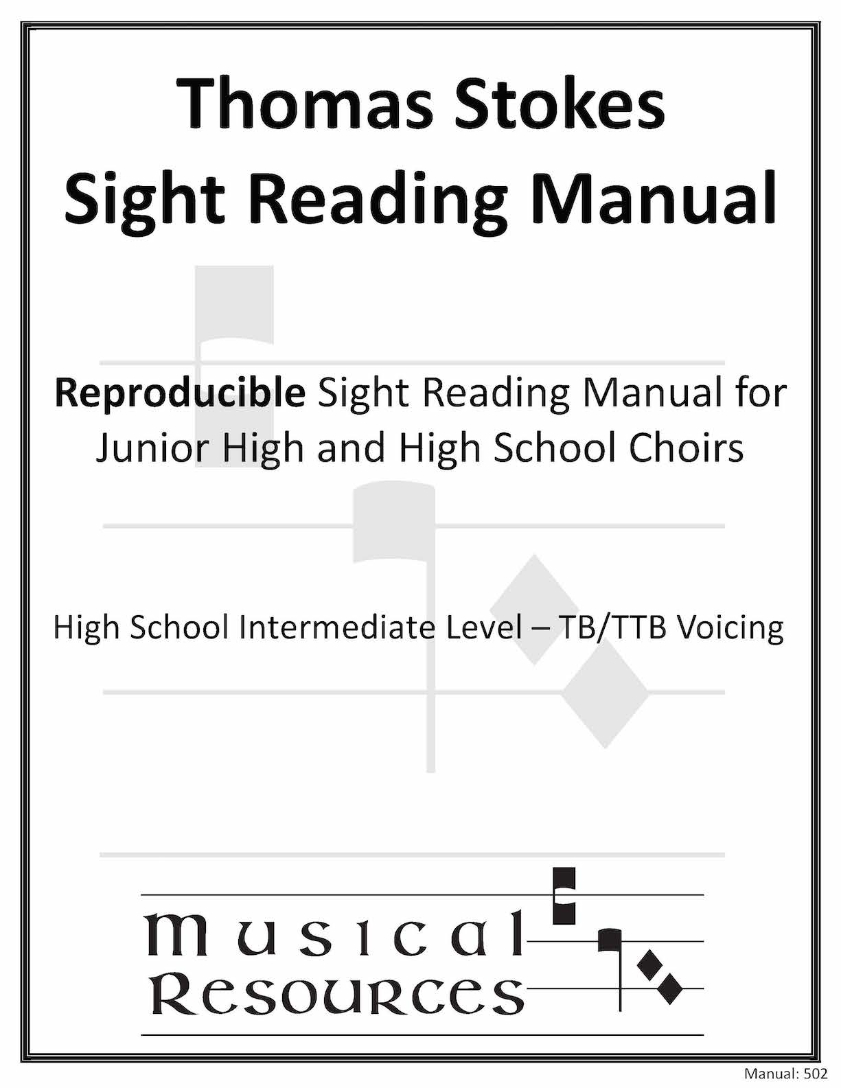 Picture of (Digital) Thomas Stokes Sightreading Manual #502 - TB/TTB High School Intermediate