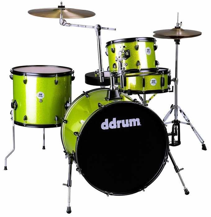 Ddrum, Ddrum D2 Rock Series Drum Set, Lime Sparkle