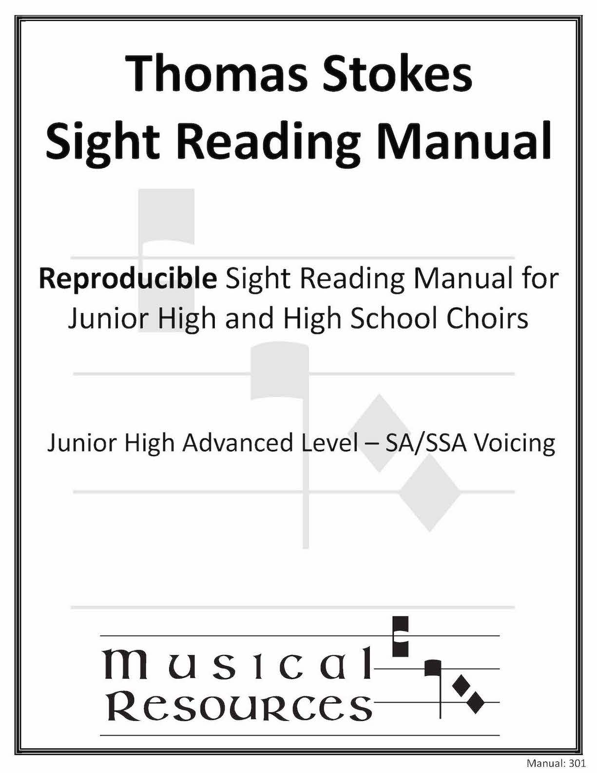 Picture of (Digital) Thomas Stokes Sightreading Manual #301 - SA/SSA Junior High Advanced