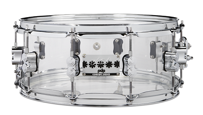 Pacific Drums, CHAD SMITH 6X14 CLEAR ACYLIC WITH CHROME HARDWARE
