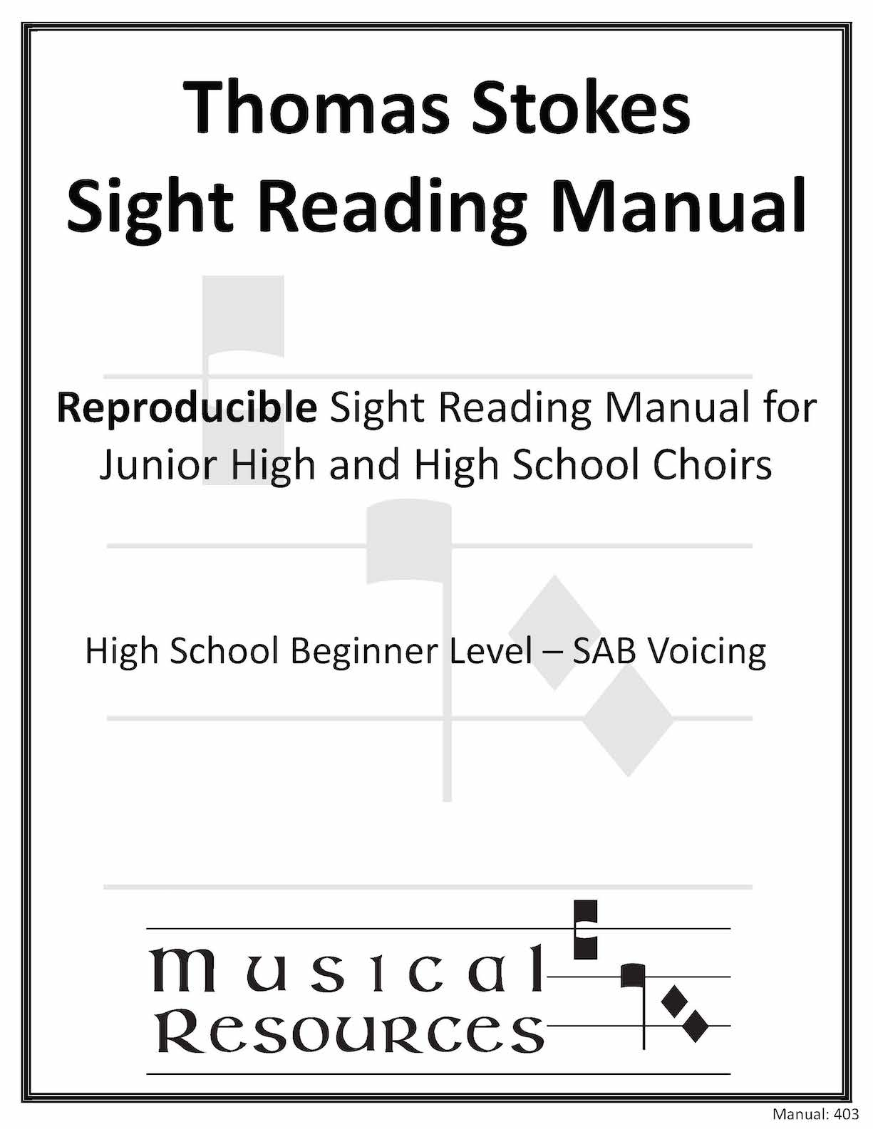 Picture of (Digital) Thomas Stokes Sightreading Manual #403 - SAB High School Beginner