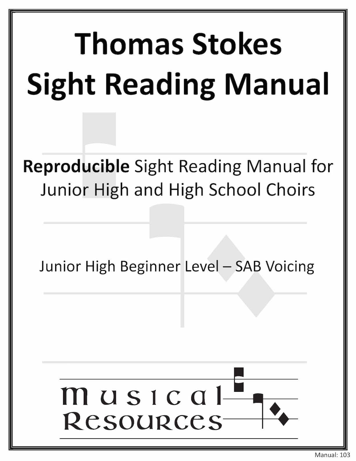 Picture of (Digital) Thomas Stokes Sightreading Manual #103 - SAB Junior High Beginner