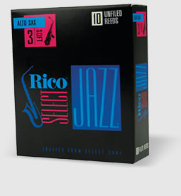 Rico Select, Rico Select Jazz Alto Saxophone Reeds Unfiled 3H - Box of 10